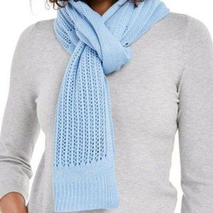 DKNY Open-Knit Blocked Scarf, Blue, One Size